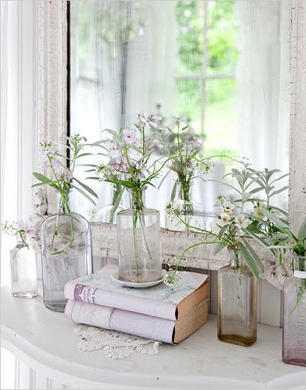 a shabby chic vignette on a table