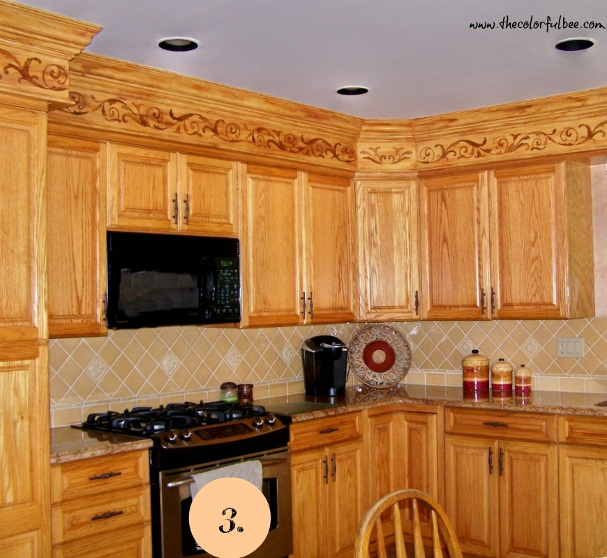 decorated kitchen soffit afer with faux woodgrained effect