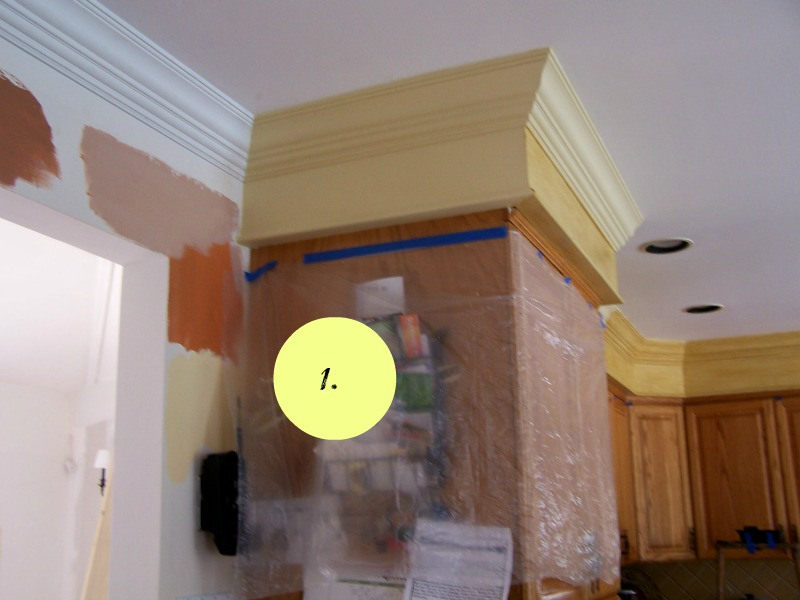 kitchen soffit before, add crown molding, how to alter soffits in kitchens
