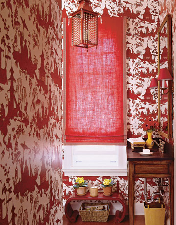 using red in interior design, red in a powder room, Meg Braff Interiors