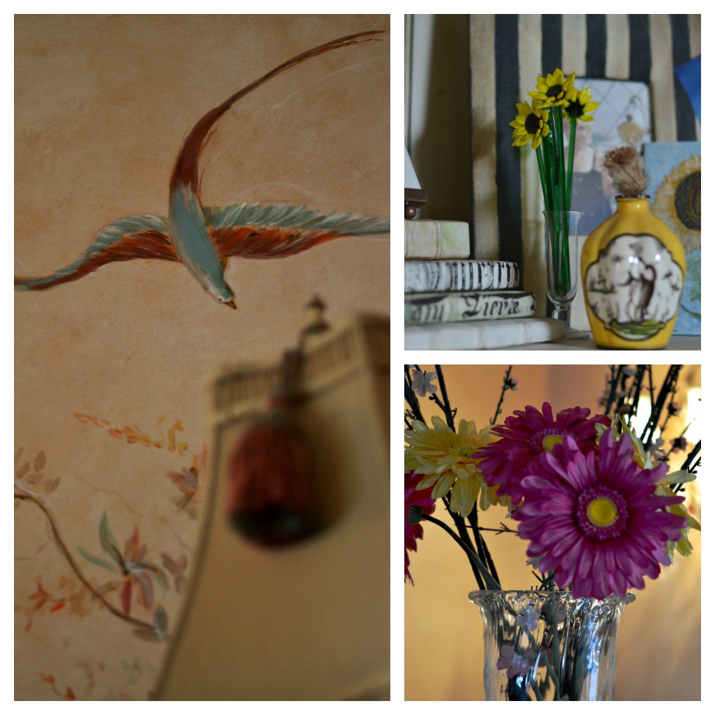 Collage of and painted bird mural, floral bouquet and books in bookcase