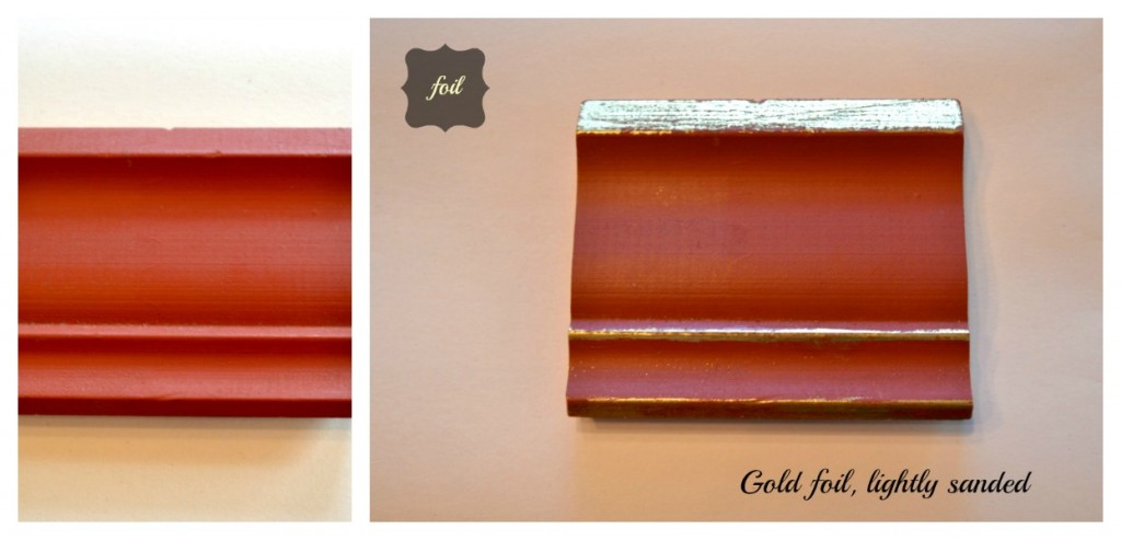 Before and after.  Leather red molding and then with the added metallic foil