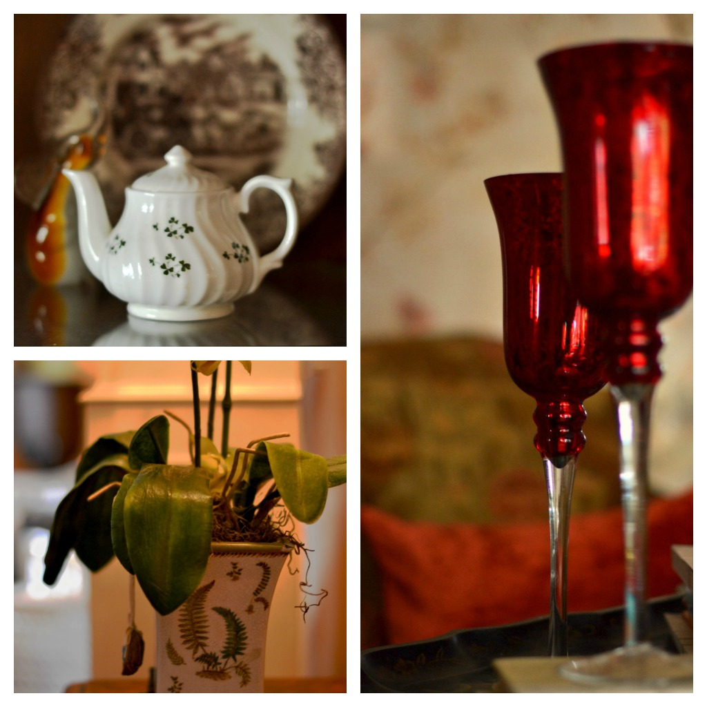Collage of accessories in a home: hurricanes, florals and teapot