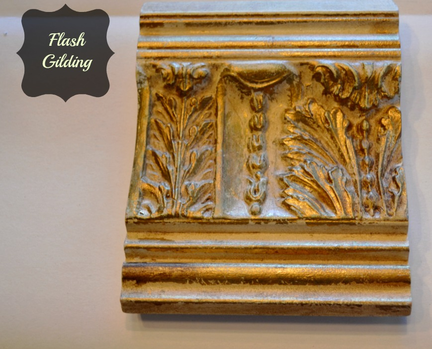 Flash gilding on a decorative molding