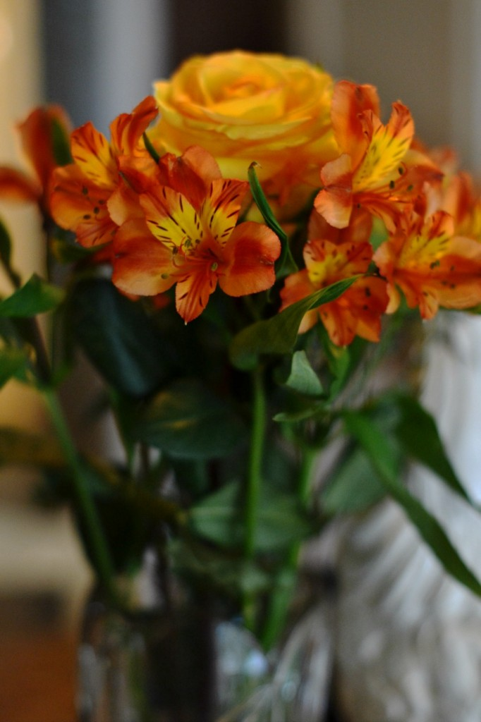 Fall colored flowers on a kitchen islan