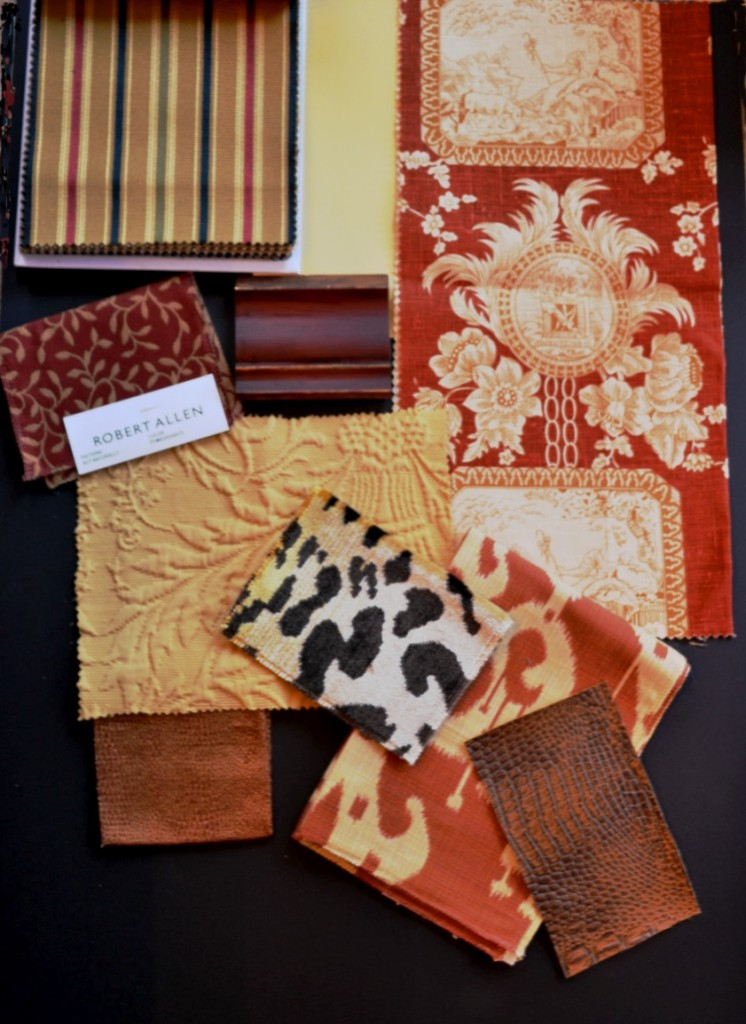 Mood board with Robert Allen, Scalamandre and Kravet fabrics.