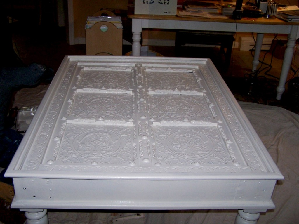 Coffee table primed and painted in an off white