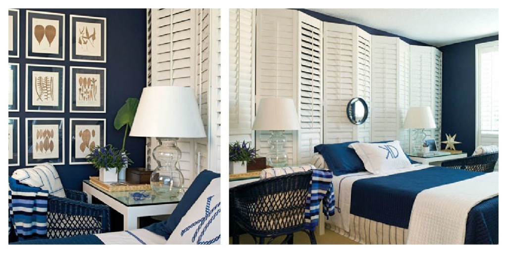 bedroom with navy blue and white