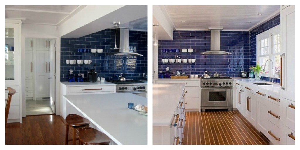 Navy subway tiles in a white kitchen