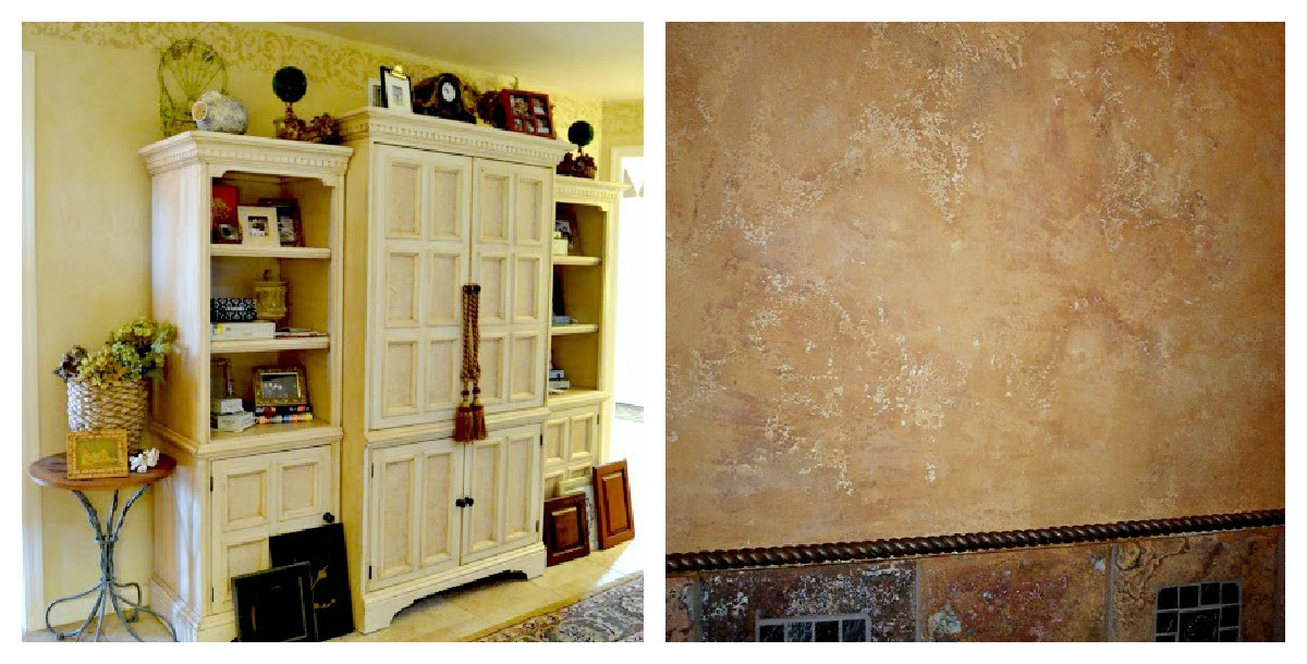 two different kinds of plaster. Venetian Plaster in a buttery yellow and a Tuscan Plaster