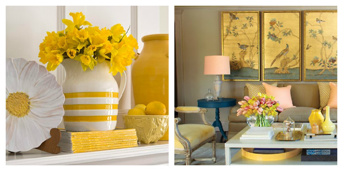 Using the color yellow as an accent color in interior design