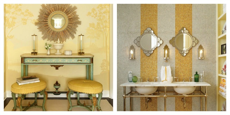 Using yellow in interior design. A yellow striped bath and a yellow entry with decorative painting