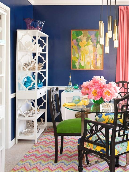 Navy dining room with many other bright colors