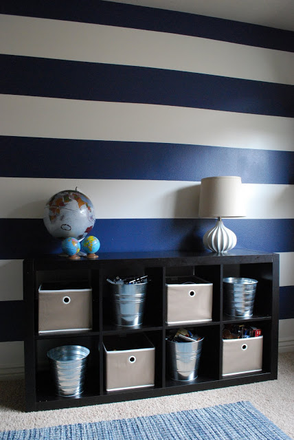 Navy and white stripes on an accent wall
