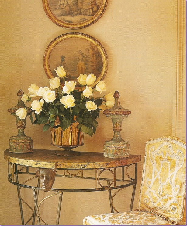 Soft yellow entryway designed by interior designer, Gerri Bremmerman. From the Cote de Texas blog