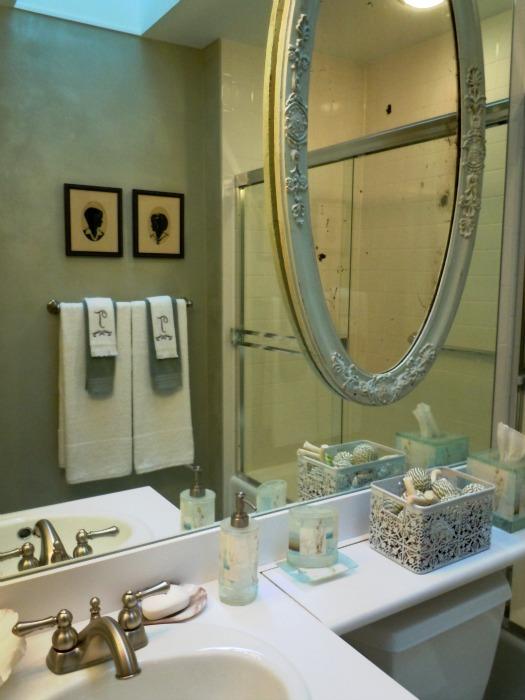 Soft blue green metallic plaster in a guest bath