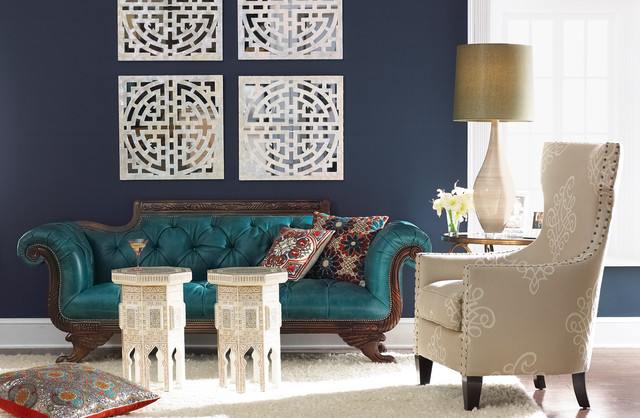 "Navy walls and teal couch in the ""Horchow"" catalogue"