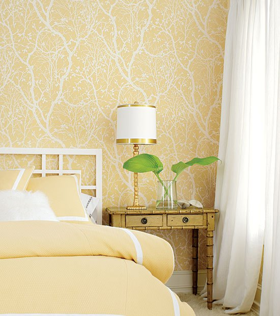 A soft yellow bedroom