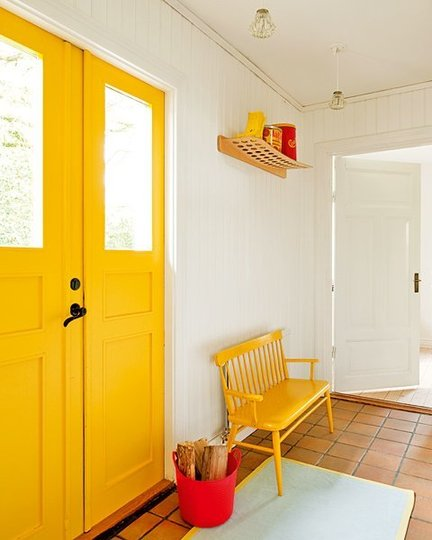 Yellow door, yellow bench and yellow accessories