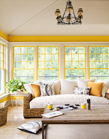 Pratt & Lambert color Premium Yellow used in a winter porch