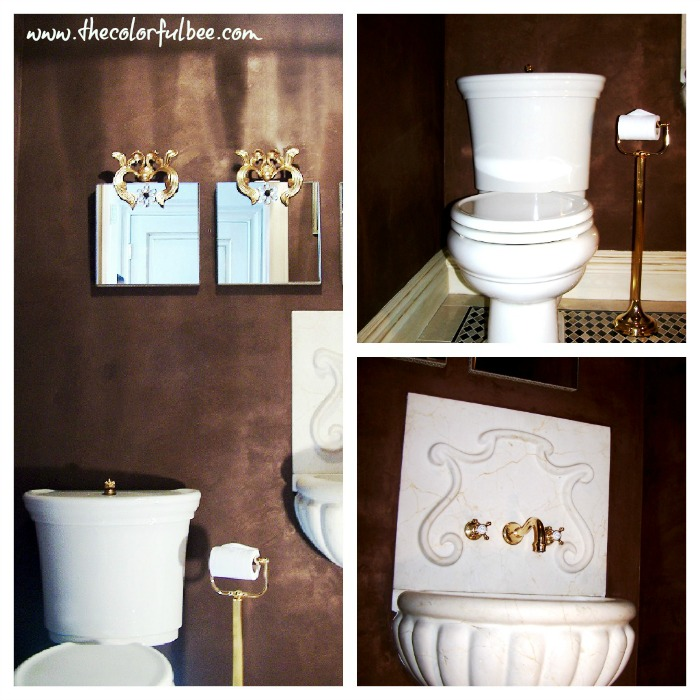 """chocolate metallic plaster wall finish"" ""dramatic powder room designs"" ""Stone Forest sinks"" ""marble sinks"""