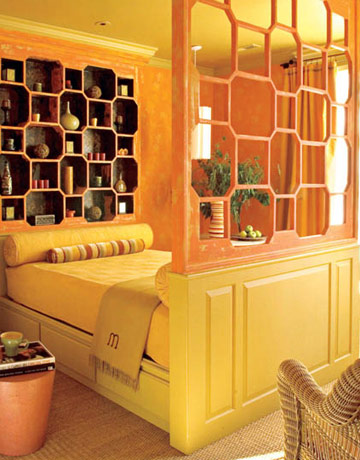 pale orange bedroom, Moroccan influenced bedroom, Barry Dixon