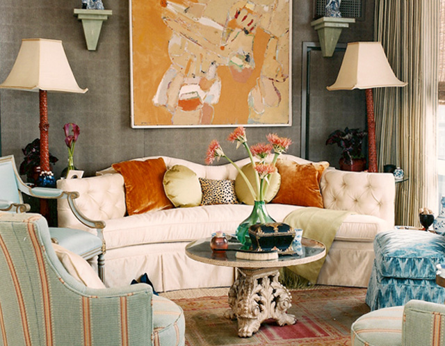 Celerie Kemble, orange and gray color scheme, orange accents in a room, beautiful living room, using the color gray