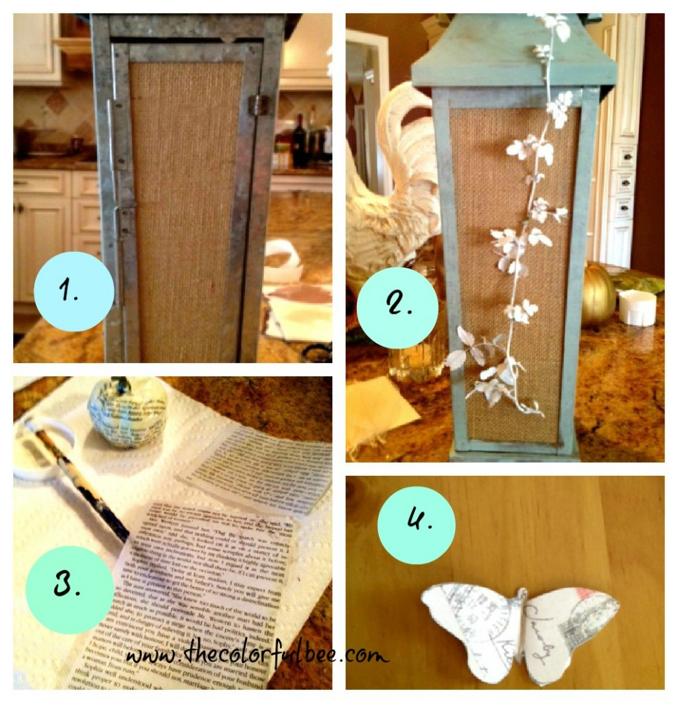 """Annie Sloan Chalk Paint,"" ""Dick Egg Blue,"" ""Decoupage"" antique lantern, ""burlap"""