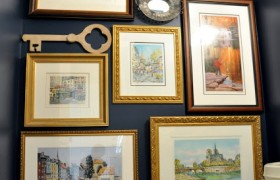 creating a gallery wall in your powder room