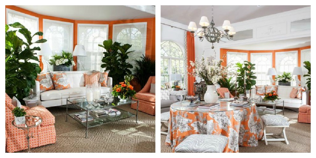 using orange in interior design, Kelley Proxmire design, using ornage in an orangerie,