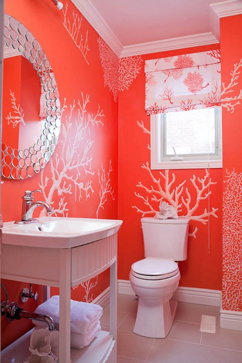"""coral powder room"" ""faux finished powder room"" ""seaside powder room"" ""beach themes in interior design"""