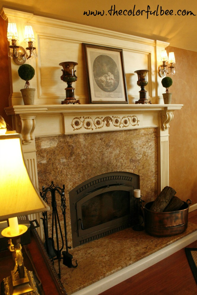 fireplace mantle, mantle decoration, orange, plaster wall finishes, Ralph Lauren look