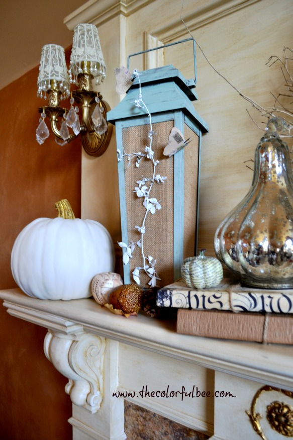 "a decorated fall mantle with painted pumpkins and ""Annie Sloan Chalk Paint"" ""Duck Egg Blue"""