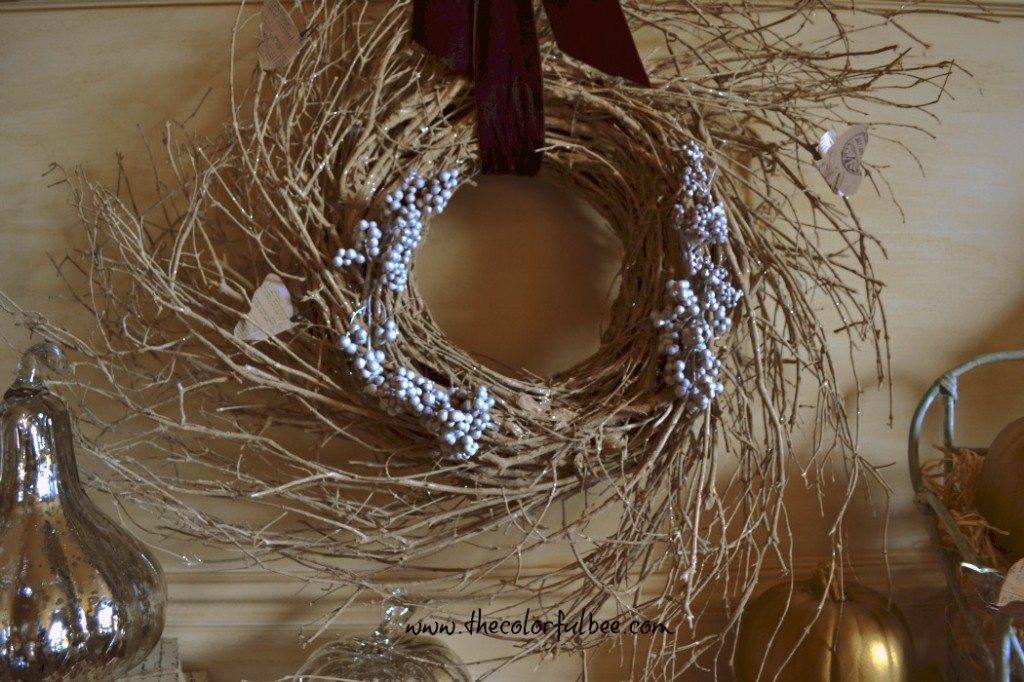 natural wreath for a fall mantle
