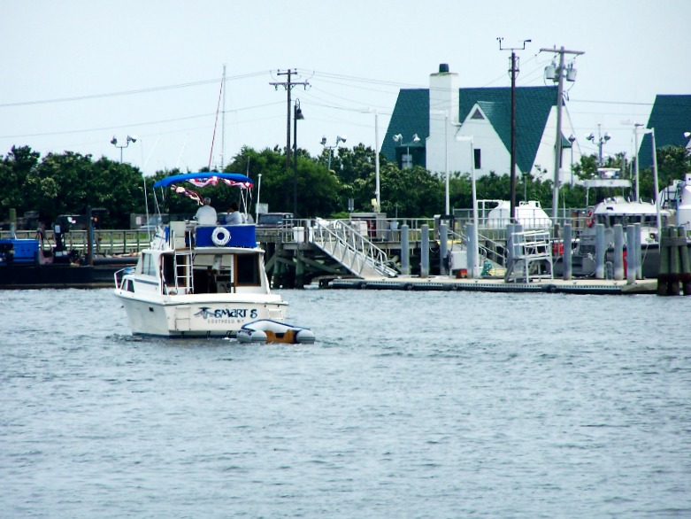 boats coming and going in Montauk Harbor