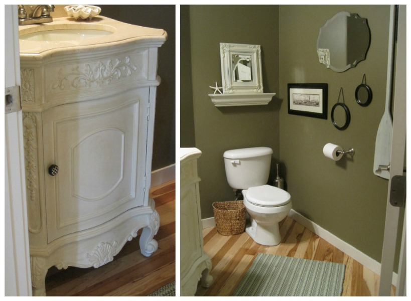 A powder room transformation with paint and accessories from The Inspired Room blog