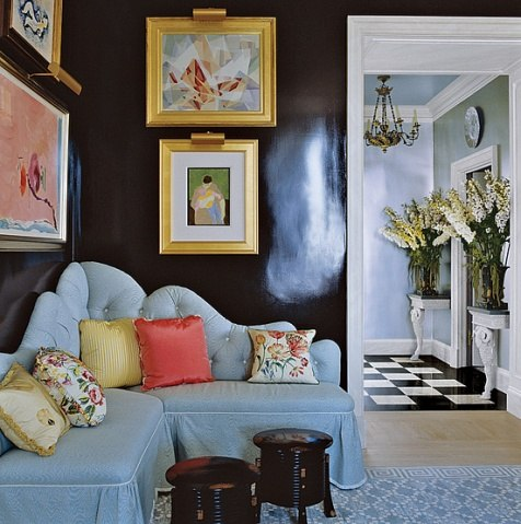 "Eggplant room from Architectural Digest, ""interior designer"" ""Mario Buatta"""