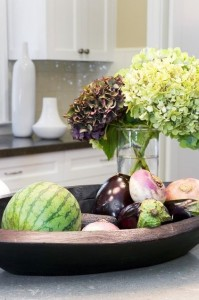 eggplant, hydrangea and watermelon vignette by Amoroso Design