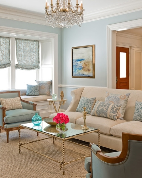 Color roundup using sky blue in interior design the for Cream living room designs