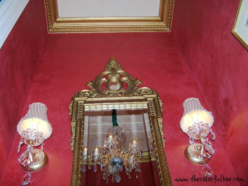 crimson red metallic plaster in a powder room