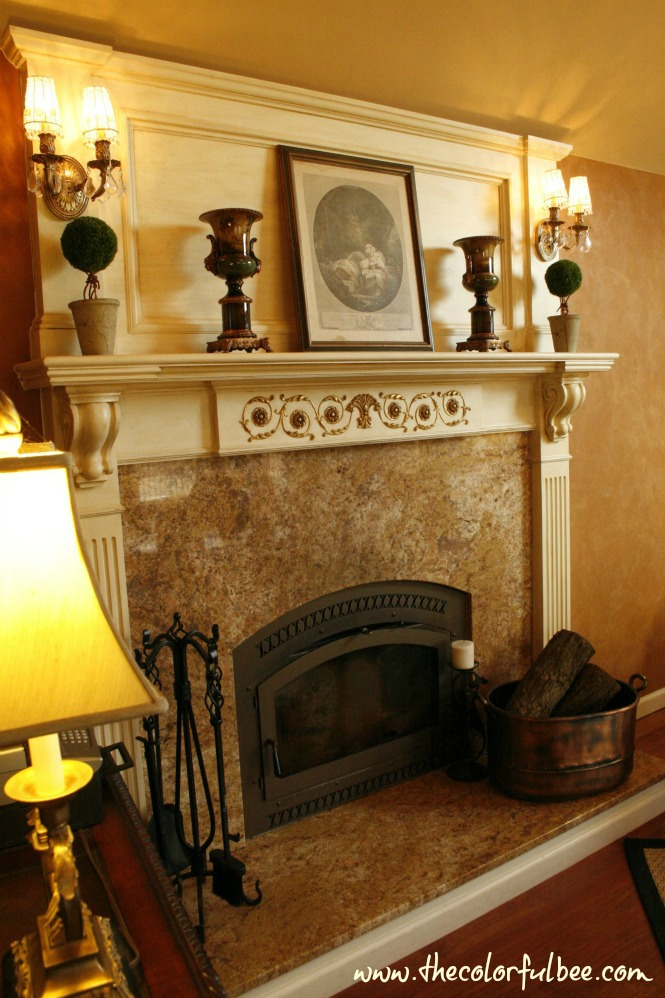 antiqued and gold leafed mantle