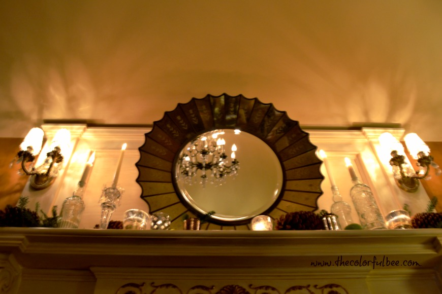 mantle with chandelier