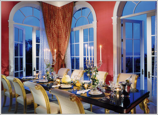 elegant red dining room