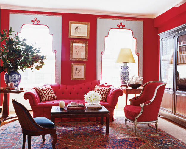 Miles Redd red living room from Elle Decor