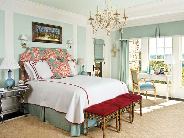 sky blue bedroom with red accents