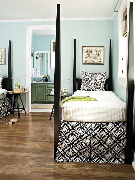 sky blue walls in a guest bedroom
