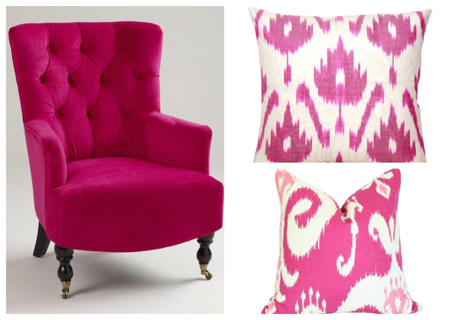 fuchsia chair and pillows