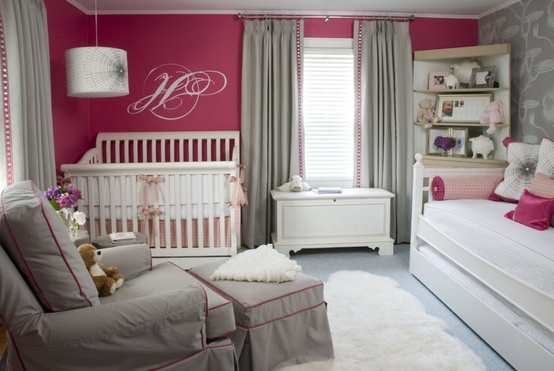 gray and fuchsia nursery