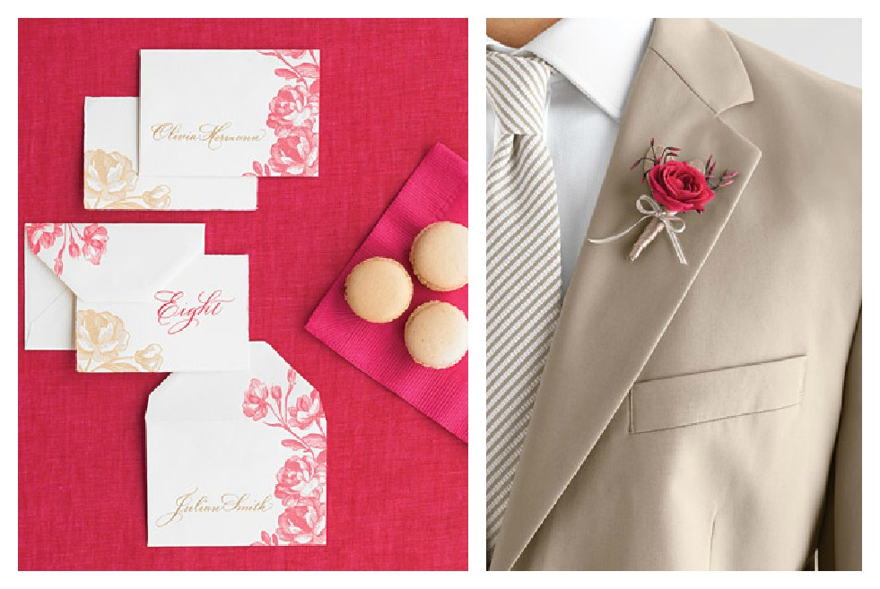 Martha Stewart weddings, taupe and fuchsia