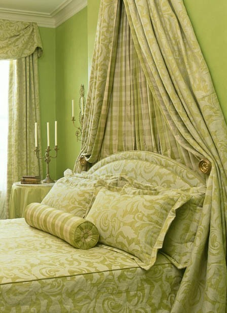 elegant bedroom in greens